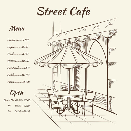 interior drawing: Hand drawn street cafe background. Menu design, sketch restaurant city,  exterior architecture, vector illustration
