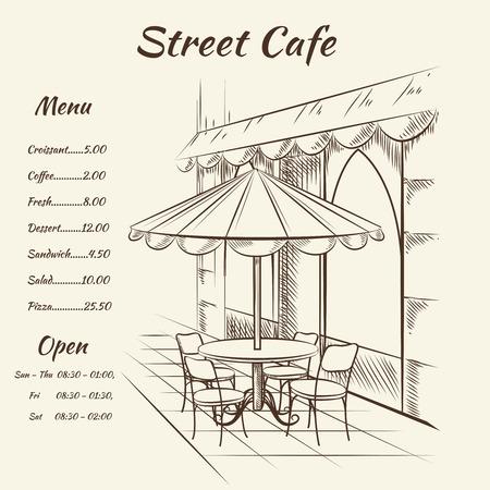 lijntekening: Hand getrokken straat cafe achtergrond. Menu design, schets restaurant stad, buitenkant architectuur, vector illustratie