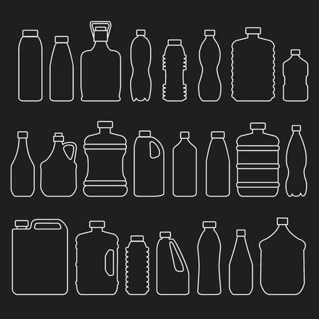 botella: Botellas de vidrio y plástico de línea y otros recipientes iconos conjunto. Objeto y líquidos, beber agua, ilustración vectorial