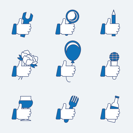 gestures: Set of vector thumbs up. Ok and good, gesture like, balloon and pencil, flower and microphone, bottle and fork