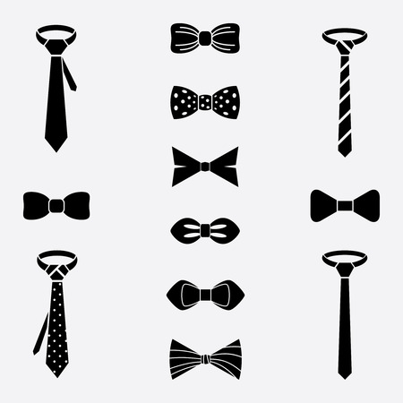 Vector tie and bow tie icons set. Clothing design, cloth accessory, necktie elegance illustration