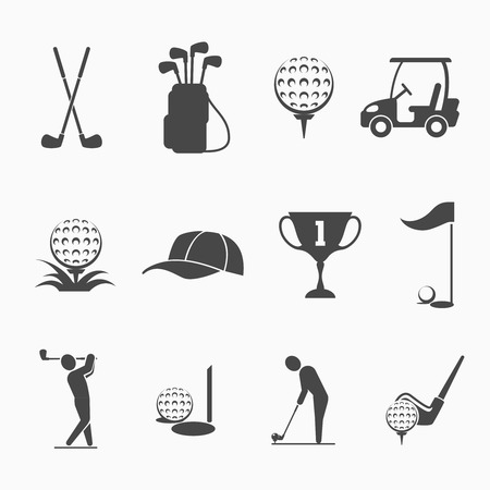 game equipment: Golf icon set. Sport game, equipment and play, hole and flag, hobby activity, vector illustration Illustration