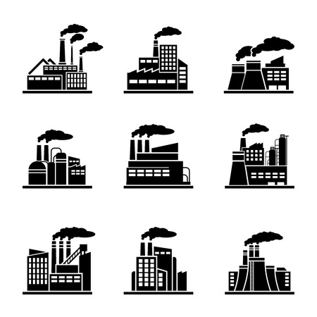 factory: Factory and industrial building icons. Power plant, energy construction, refinery and nuclear. Vector illustration