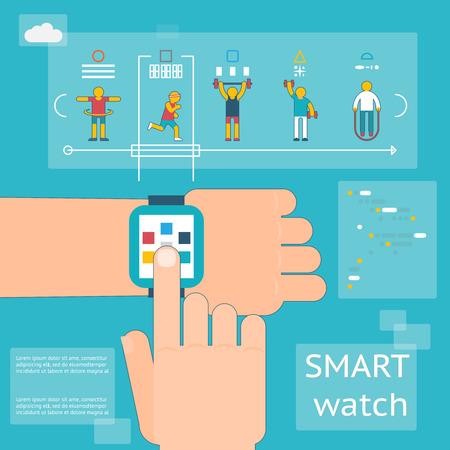 skipping: Smart watch fitness tracker. Gadget app, skipping rope, barbells and dumbbells, activity running, vector illustration Illustration
