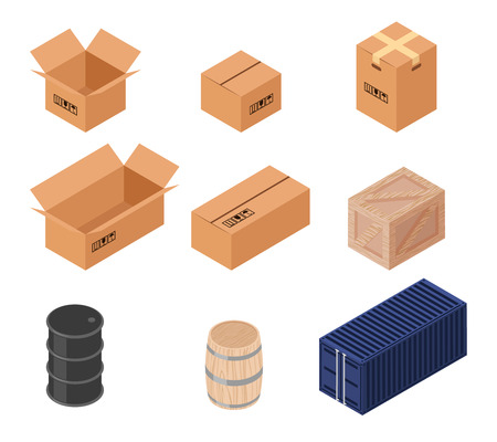 cardboard: Set of isometric vector boxes. Cardboard illustration, wooden barrel and box, transportation and distribution, warehouse and container