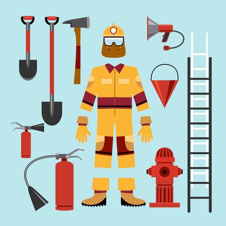 bombero de rojo: Uniforme de bombero plana y equipo de herramientas. Extintores y materiales peligrosos y guantes, retardante y el altavoz. Ilustración vectorial