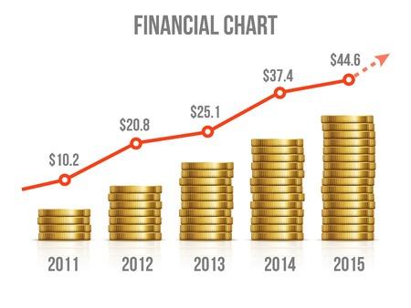 desarrollo económico: Carta financiera. Diagrama de hacer dinero con monedas de oro. Inversión Gráfico, el crecimiento del mercado de negocios de oro, ilustración vectorial Vectores