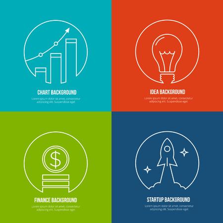Business line art achtergronden. Financiën en analytics, opstarten en creatief idee. Grafiek marketing, optimalisatie plannen groei, rucola en werk, creatief management. Vector illustratie Stock Illustratie