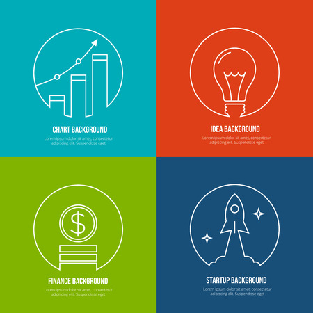 business idea: Business line art backgrounds. Finance and analytics, startup and creative idea. Graph marketing, optimization plan growth, rocket and work, creative management. Vector illustration