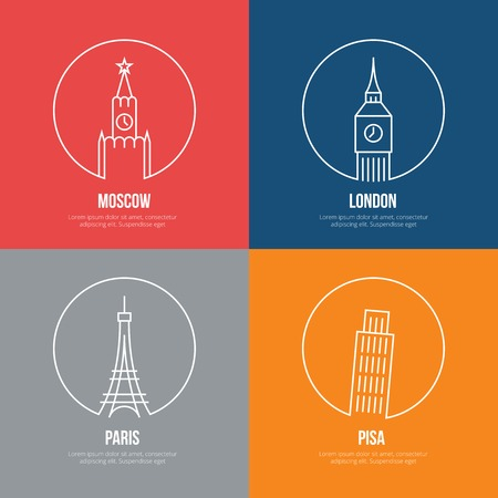 tower of london: Vector landmarks line art posters. Leaning and Eiffel tower, london and moscow, paris and Kremlin, Big Ben and Britain Illustration