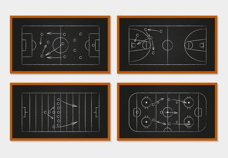 Basketbal, voetbal, voetbal en ijshockey rechtbanken op een bord. Sport tactiek op een bord. Idee en de speler, strategie en teamwork, orde en organisatie. Vector illustratie Stock Illustratie