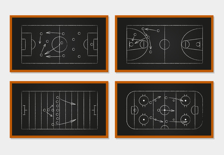 blackboard: Basketball, soccer, football and ice hockey courts on a chalkboard. Sport tactics on a board. Idea and player, strategy and teamwork, order and organization. Vector illustration