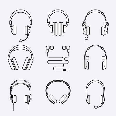 speaker icon: Vector line headphones icon set. Microphone and audio, speaker and sound, music and technology