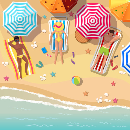 beach umbrella: Beach top view background with sunbathers men and women. Umbrella and vacation travel, relaxation summer tourism, rest sea and sand. Vector illustration