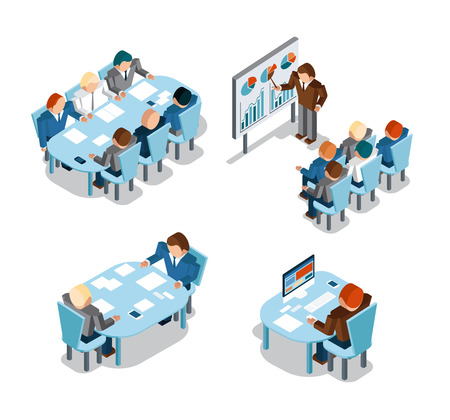 business work: Business negotiations and brainstorming, analysis and creative office work. Idea and people, place and busy, administration businessmen working. Vector illustration