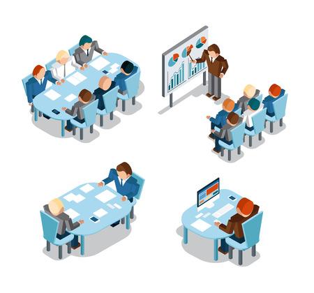 administracion de empresas: Negociaciones comerciales y de intercambio de ideas, análisis y trabajo de oficina creativa. Idea y la gente, el lugar y ocupado, hombres de negocios de administración de trabajo. Ilustración vectorial