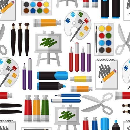 art and craft equipment: Artistic tool seamless pattern. Paintbrush and tool, design drawing, brush and pallette, craft and colorful gouache, hobby and watercolor, vector illustration