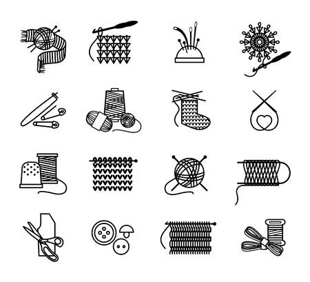 coser: Dibujado a mano tejer, bordar y los iconos de costura Set. Hilo y coser, aguja y artesanía, ilustración vectorial