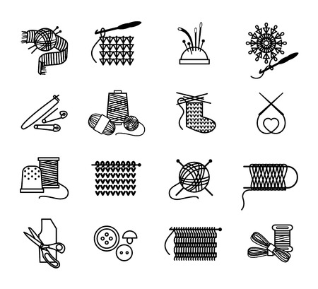 knit: Hand drawn knitting, embroidering and sewing icons set. Thread and sew, needle and craft, vector illustration Illustration