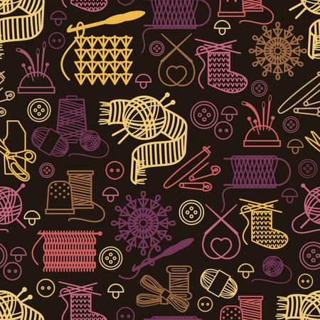 coser: El hacer punto y costura sin patrón. Artesanía fondo, hilo diseño de la costura y la pelota, ilustración vectorial