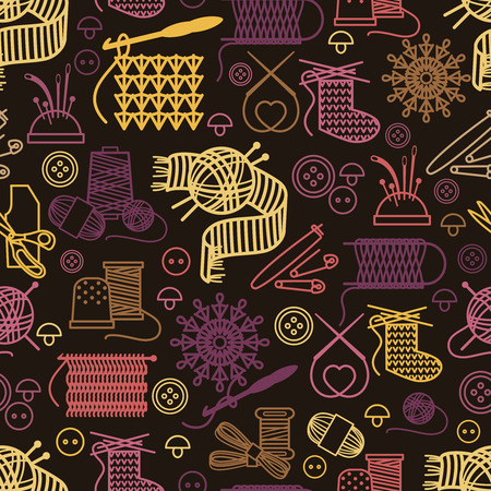 clew: Knitting and needlework seamless pattern. Background craft, needlework design yarn and ball, vector illustration Illustration