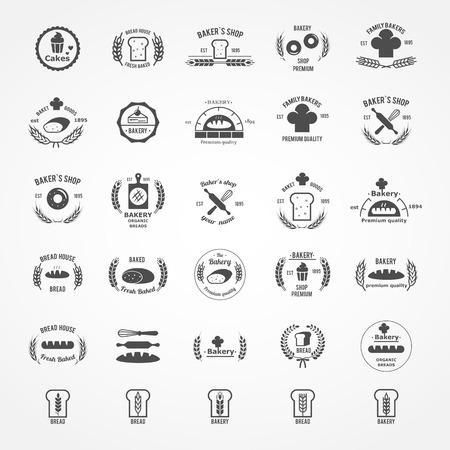 logotipos de restaurantes: Vector conjunto de logotipos de panadería serie Vintage. El pan y la torta, la divisa del alimento, hornear fresca, el trigo y la ilustración de la comida