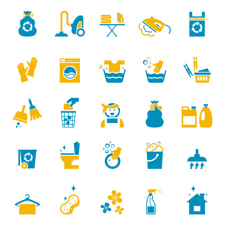 services icon: Washing and cleaning icons set. Vacuum and glove, bucket and sponge, cleaner and brush, spray and washing. Vector illustration