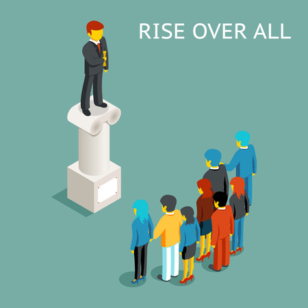 statesman: Orator public speech. Flat isometric conference or presentation, speaker and leader rise over all, presenter on column. Vector illustration