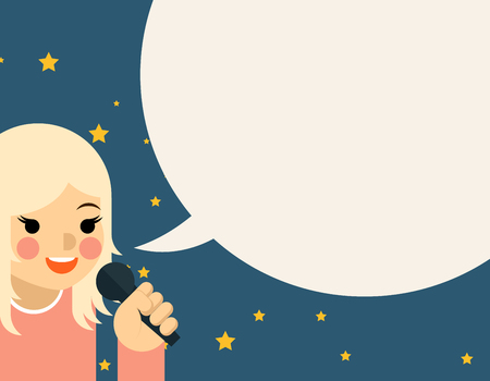spokesman: Woman with microphone. Speech and communication, girl young talk, presentation and karaoke, vector illustration