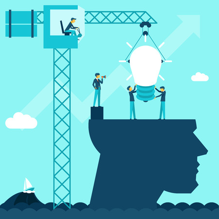 men at work sign: Vector business idea background. Illustration businessmen establish lightbulb of using a crane head Illustration