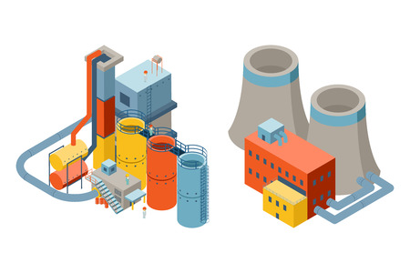 chimney: Industrial factory buildings, 3d isometric flat icons. Nuclear and electricity, chimney power factory. Vector illustration