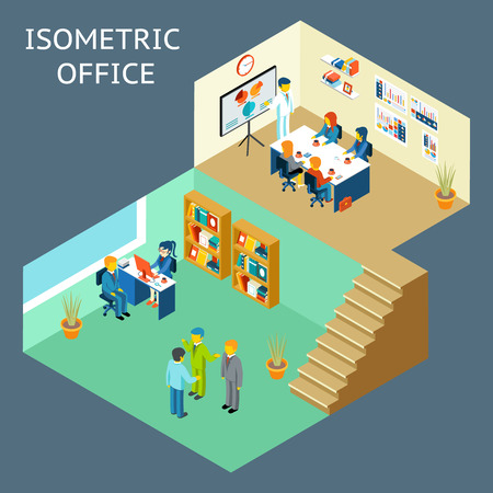 office staff: Office work. Isometric flat 3d about office staff. Work and people, meeting and worker, teamwork and interior. Vector illustration