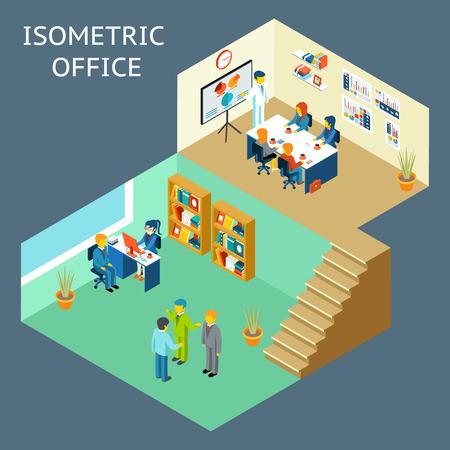 reunion de trabajo: Trabajo de oficina. 3d plana isométrica sobre el personal de oficina. El trabajo y las personas, salas de reuniones y de los trabajadores, el trabajo en equipo y el interior. Ilustración vectorial