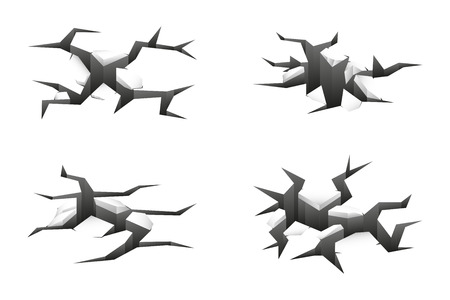 regress: Vector 3d ground cracks on white background