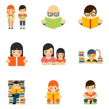 personas leyendo: Iconos conjunto de personas que leen el libro en el diseño de estilo plano. La escuela de Educación, estudio y estudiante, leer en la biblioteca. Ilustración vectorial Vectores