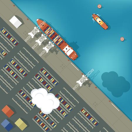 Ilustración de un puerto de carga en el estilo plano. Vista superior. Barco y el puerto, el mar y el barco, la industria de envío de transporte, grúa y el muelle del vector