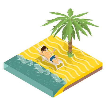 Business vacation. Businessman on beach under palm tree isometric vector Illustration