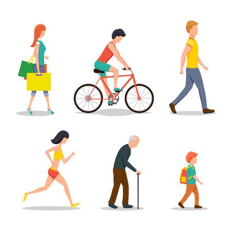 caminando: La gente en la calle en el diseño de estilo plano