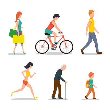 old people group: People on street in flat style design