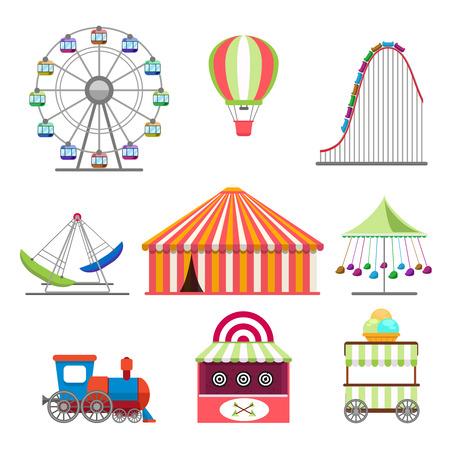 Amusement park icons set in flat design style
