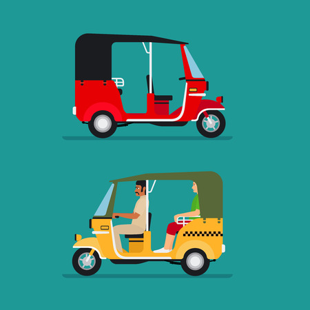 drivers: Asian auto rickshaw or baby taxi vector transport Illustration