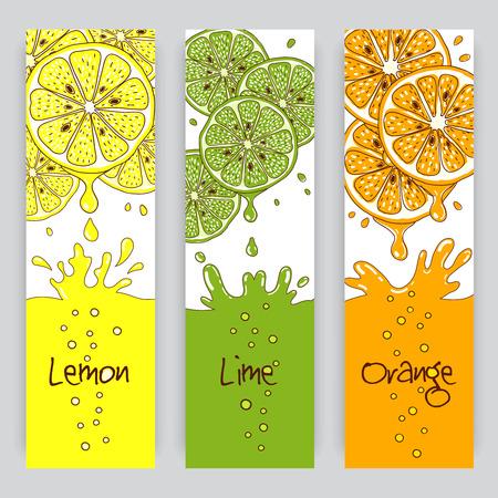 frutas divertidas: Vector banners verticales con cítricos. Limón, limón y jugo de naranja