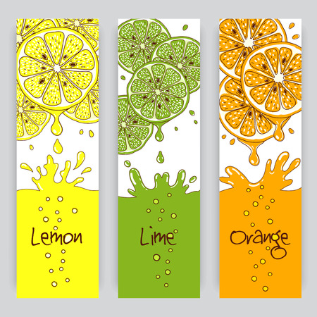juice: Vertical vector banners with citrus fruit. Lemon, lime and orange juice