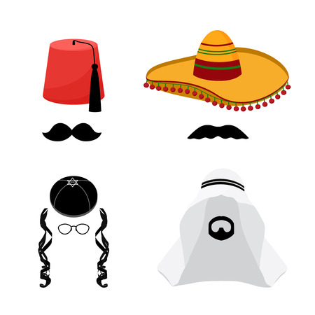 cappelli: Fez turco e messicano cappello sombrero, arabo cappello kefiah e cappello ebraico Kipa, barba e baffi