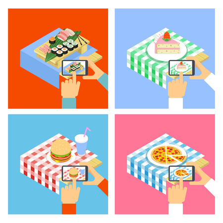 taking photo: People taking photo of food with smartphone. Vector concept illustration Illustration