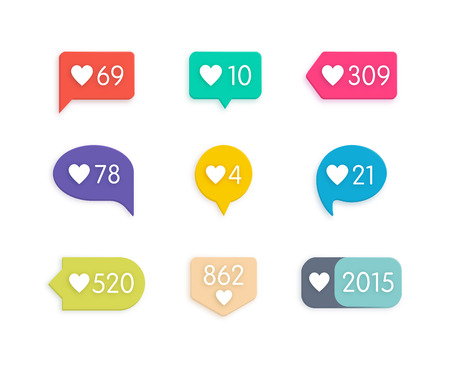 ok: Vector Like Counter Notification Icons Set on ribbons and labels Illustration