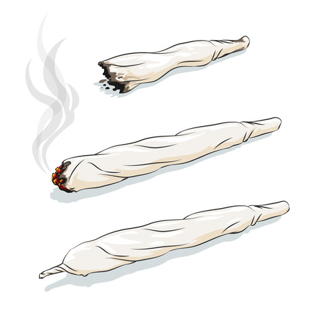 drug: Vector joint or spliff. Drug consumption, marijuana and smoking drugs Illustration