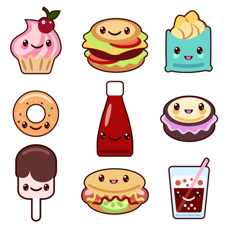 baby girls smiley face: Vector set of fast food and fruit Kawaii characters