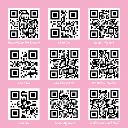 Love QR codes. I love you QR code, miss you QR code Illustration
