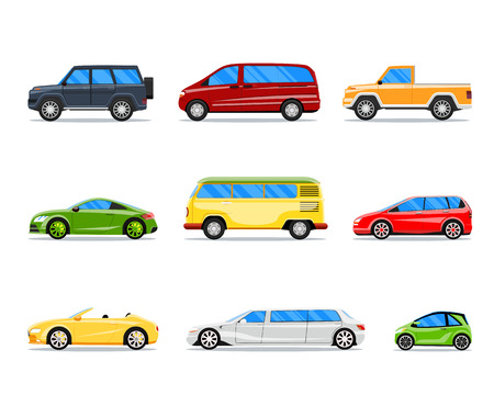 side view: Vector car icons in flat style.  cabrio, limousine and hatchback, van and sedan illustration